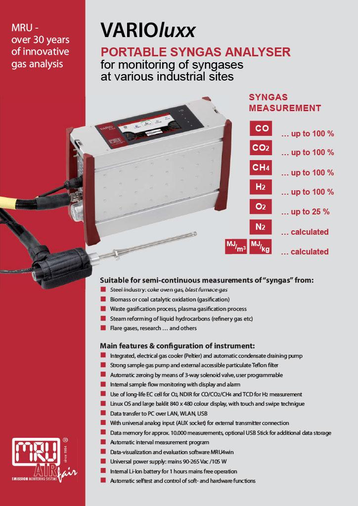 VARIOluxx Portable Syngas Analyser